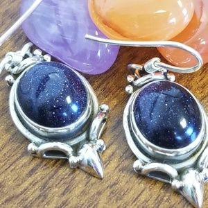 Sterling silver blue goldstone earrings